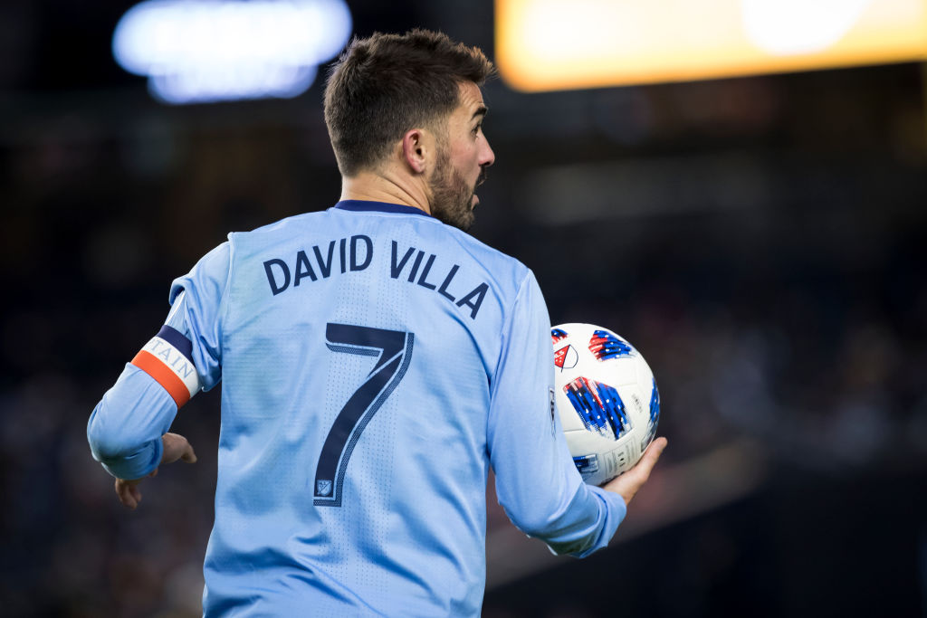 BRONX, NY - NOVEMBER 04: David Villa #7 of New York City goes to take the throw in during the 2018 Major League Soccer Cup Playoffs Eastern Conference Semi-Final Leg 1 match between New York City FC and Atlanta FC at Yankee Stadium on November 04, 2018 in the Bronx borough of New York.  Atlanta United won the match with a score of 1 to 0.  (Photo by Ira L. Black/Corbis via Getty Images)