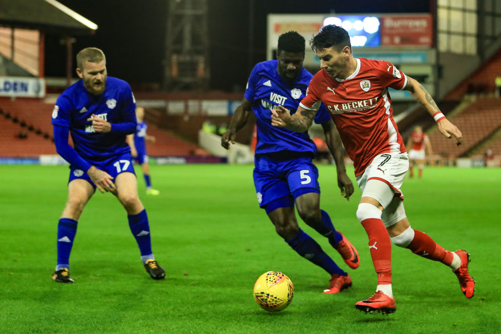 21st November 2017, Oakwell, Barnsley, England; EFL Championship football, Barnsley versus Cardiff; Adam Hammill of Barnsley FC edges past Bruno Ecuele Manga of Cardiff City  (Photo by Mark Cosgrove/Action Plus via Getty Images)