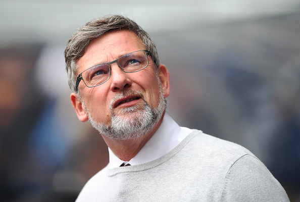 GLASGOW, SCOTLAND - APRIL 22: Heart of Midlothian manager Craig Levein looks on during the Ladbrokes Scottish Premiership match between Rangers and Hearts at Ibrox Stadium on April 22, 2018 in Glasgow, Scotland.