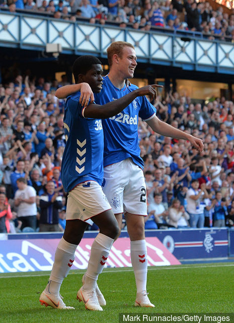 Rudden celebrates scoring for Rangers with Serge Atakayi