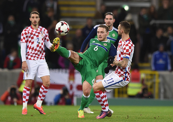 BELFAST, NORTHERN IRELAND - NOVEMBER 15: Lee Hodson (L) of Northern Ireland and Marcelo Brozovic (R) of Croatia during the international friendly fixture between Northern Ireland and Croatia at Windsor Park on November 15, 2016 in Belfast, Northern Ireland.