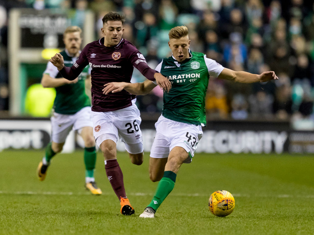 29th December 2018, Easter Road, Edinburgh, Scotland; Ladbrokes Premiership football, Hibernian versus Heart of Midlothian; Sean Mackie of Hibernian and Marcus Godinho of Hearts compete for possession of the ball