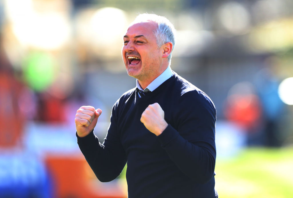 MOTHERWELL, SCOTLAND - MARCH 25: Dundee United manager Ray McKinnon celebrates during the Irn-Bru Cup Final between Dundee United and St Mirren at Fir Park on March 25, 2017 in Motherwell, Scotland.