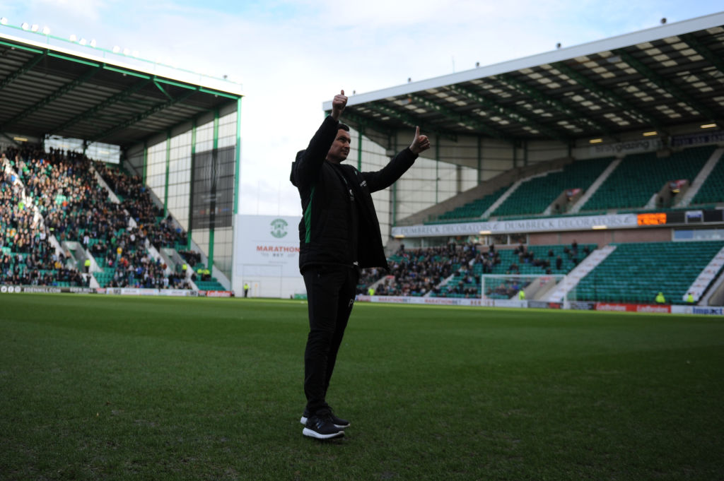 EDINBURGH, SCOTLAND - FEBRUARY 16: Paul Heckingbottom Manager of Hibs FC takes to the field for the first time before the Ladbrokes Premiership match between Hibernian and Hamilton Academical at Easter Road on February 16, 2019 in Edinburgh, United Kingdom.