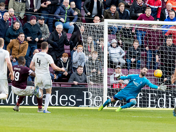 30th March 2019, Tynecastle Park, Edinburgh, Scotland; Ladbrokes Premiership football, Heart of Midlothian versus Aberdeen; Uche Ikpeazu of Hearts scores his sides second goal which made it 2-1