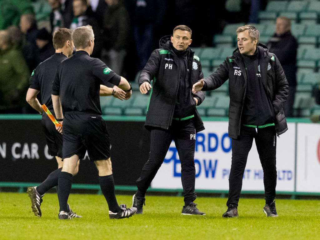 3rd April 2019, Easter Road, Edinburgh, Scotland; Ladbrokes Premiership football, Hibernian versus Kilmarnock; Paul Heckingbottom Hibernian Manager and Robbie Stockdale Hibernian Coach at full time with match officials