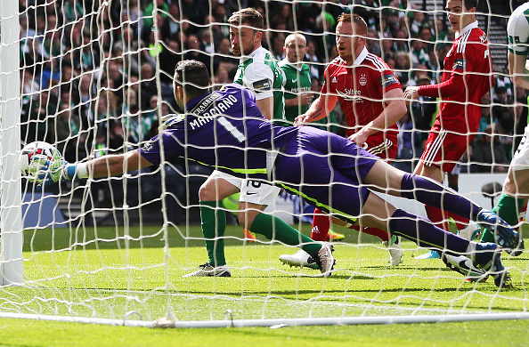 GLASGOW, SCOTLAND - APRIL 22: Ofir Marciano of Hibernian is beaten by the shot of Ryan Christie of Aberdeen during the William Hill Scottish Cup semi-final match between Hibernian and Aberdeen at Hampden Park on April 22, 2017 in Glasgow, Scotland.