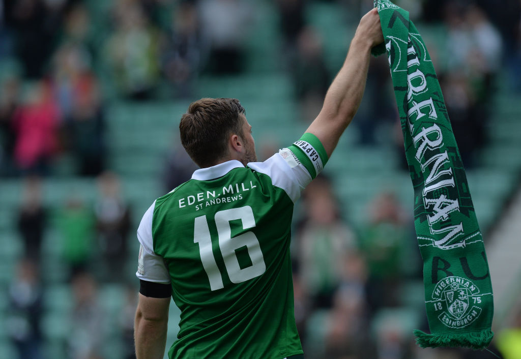 EDINBURGH, SCOTLAND - JULY 09: Lewis Stevenson of Hibernian applauds the crowd as he walk around the pitch after his testimonial match with Sunderland during the pre season friendly between Hibernian and Sunderland at Easter Road on July 9, 2017 in Edinburgh, Scotland.
