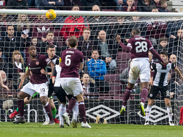 23rd February 2019, Tynecastle Park, Edinburgh, Scotland; Ladbrokes Premiership football, Heart of Midlothian versus St Mirren; Clevid Dikamona of Hearts scores the opening goal for Hearts for 1-0 in minute 56