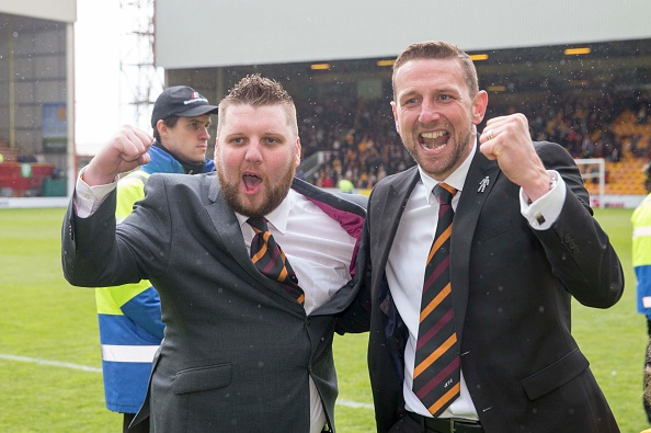 MOTHERWELL, SCOTLAND - MAY 31: Motherwell general manager Alan Burrows with team boss Ian Baraclough celebrate at end of the Scottish Premiership play-off final 2nd leg between Motherwell and Rangers at Fir Park on May 31, 2015 in Motherwell, Scotland.