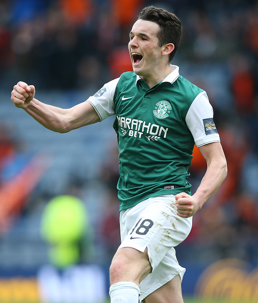 GLASGOW, SCOTLAND - APRIL 16: John McGinn of Hibernian celebrates scoring a penalty during the penalty shoot out during the Scottish Cup Semi Final between Hibernian and Dundee United at Hampden Park on April 16, 2016 in Glasgow, Scotland.