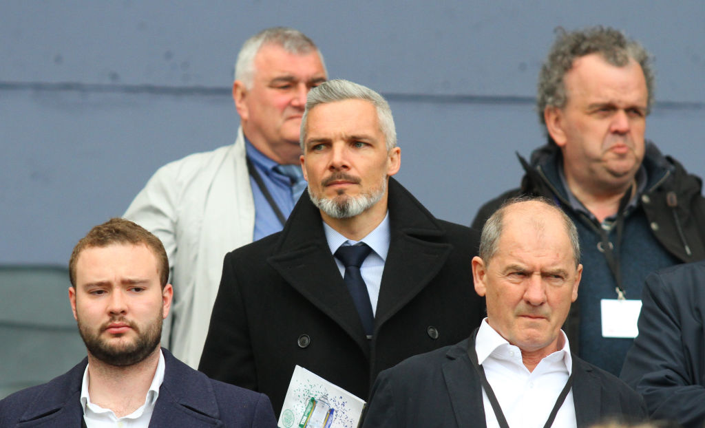 April 23rd 2017, Hampden Park, Glasgow, Scotland; Scottish Cup football semi-final Celtic versus Rangers; Jim Goodwin (centre) watched from the stands