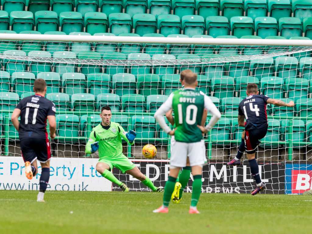 19th August 2018, Easter Road, Edinburgh, Scotland; Scottish League Cup second round, Hibernian versus Ross County; Josh Mullin of Ross County makes it 1-2 from the penalty spot as he puts his shot past keeper Laidlaw in the 64th minute