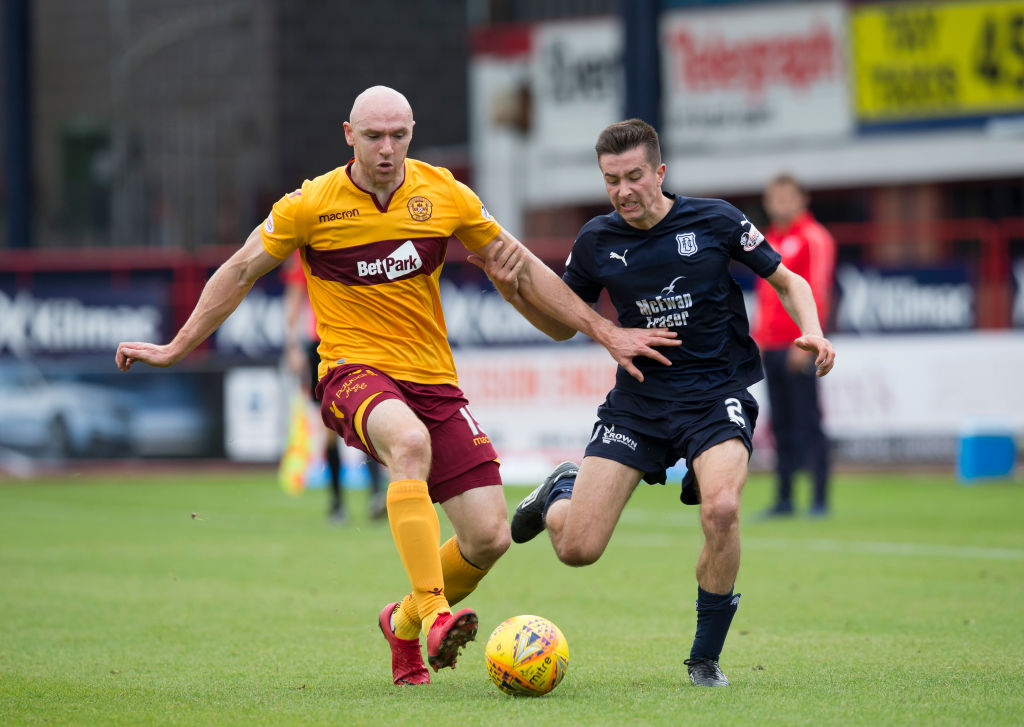 1st September 2018, Dens Park, Dundee, Scotland; Ladbrokes Premiership football, Dundee versus Motherwell; Conor Sammon of Motherwell challenges for the ball with Cammy Kerr of Dundee