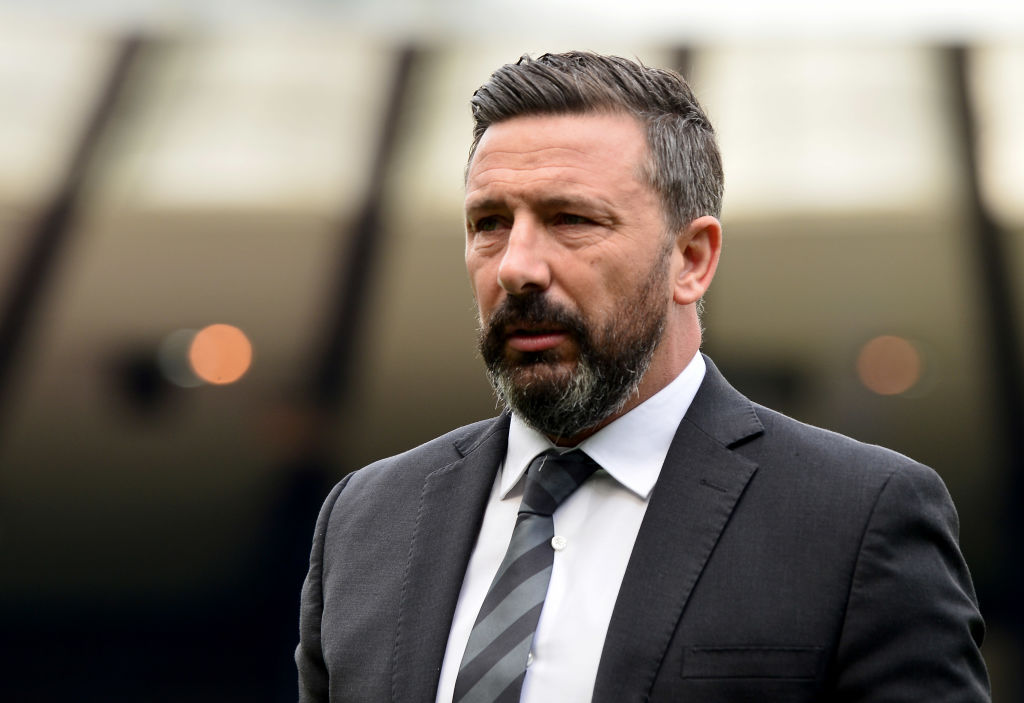 GLASGOW, SCOTLAND - APRIL 14: Derek McInnes the manager of Aberdeen during the Scottish Cup semi-final between Aberdeen and Celtic at Hampden Park on April 14, 2019 in Glasgow, Scotland.
