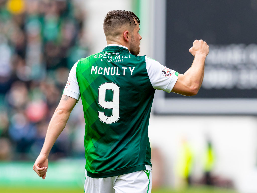 19th May 2019; Hibs, Leith, Edinburgh, Scotland, Ladbrokes Scottish Premier League football, Hibernian versus Aberdeen; Marc McNulty of Hibernian celebrates after scoring the opening goal making it 1-0 for Hibernian in 26th minute