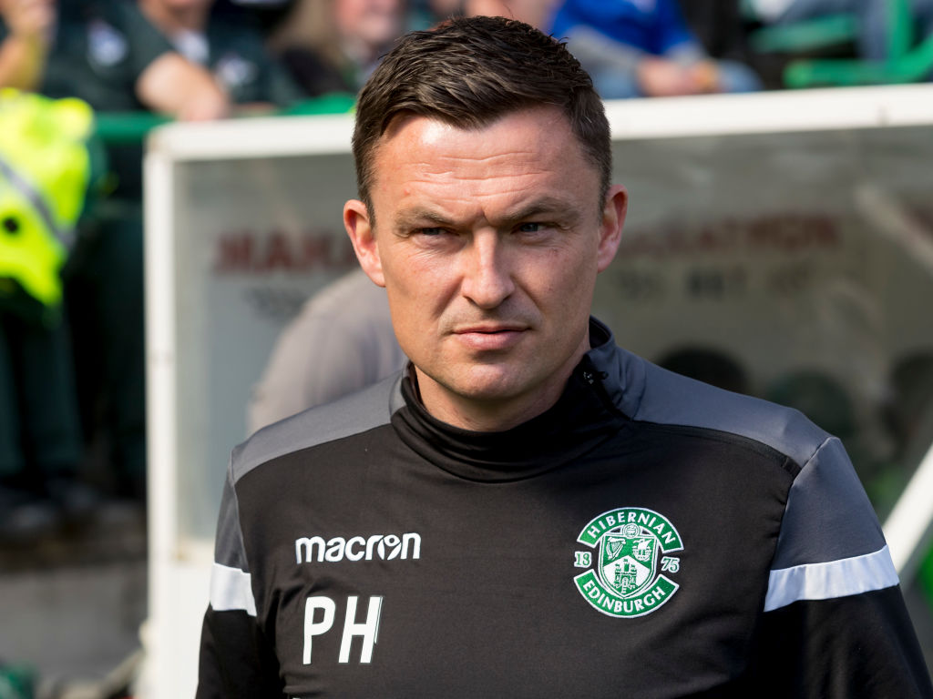 21st April 2019, Easter Road, Edinburgh, Scotland; Ladbrokes Premiership football, Hibernian versus Celtic; Paul Heckingbottom Hibernian Manager hibs