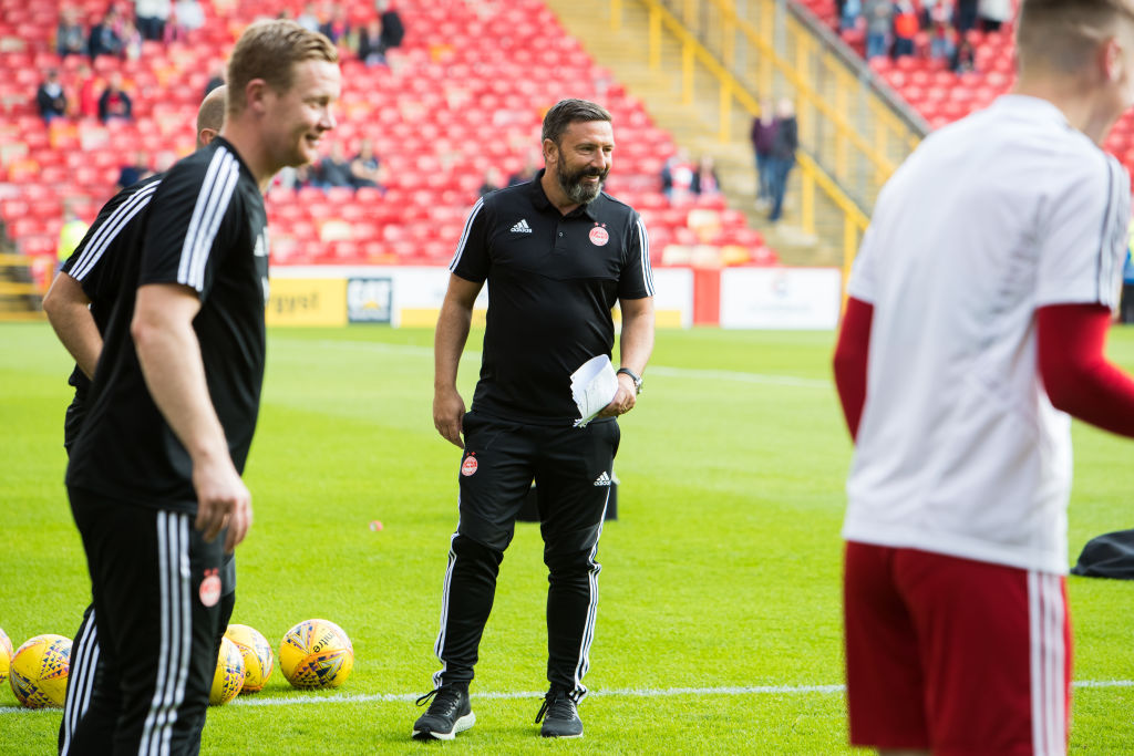 ABERDEEN, SCOTLAND - JULY 11: Aberdeen Manager Derek McInnes of prior to the UEFA Europa League First qualifying round match between Aberdeen and RoPS at Pittodrie Stadium on July 11, 2019 in Aberdeen, Scotland.