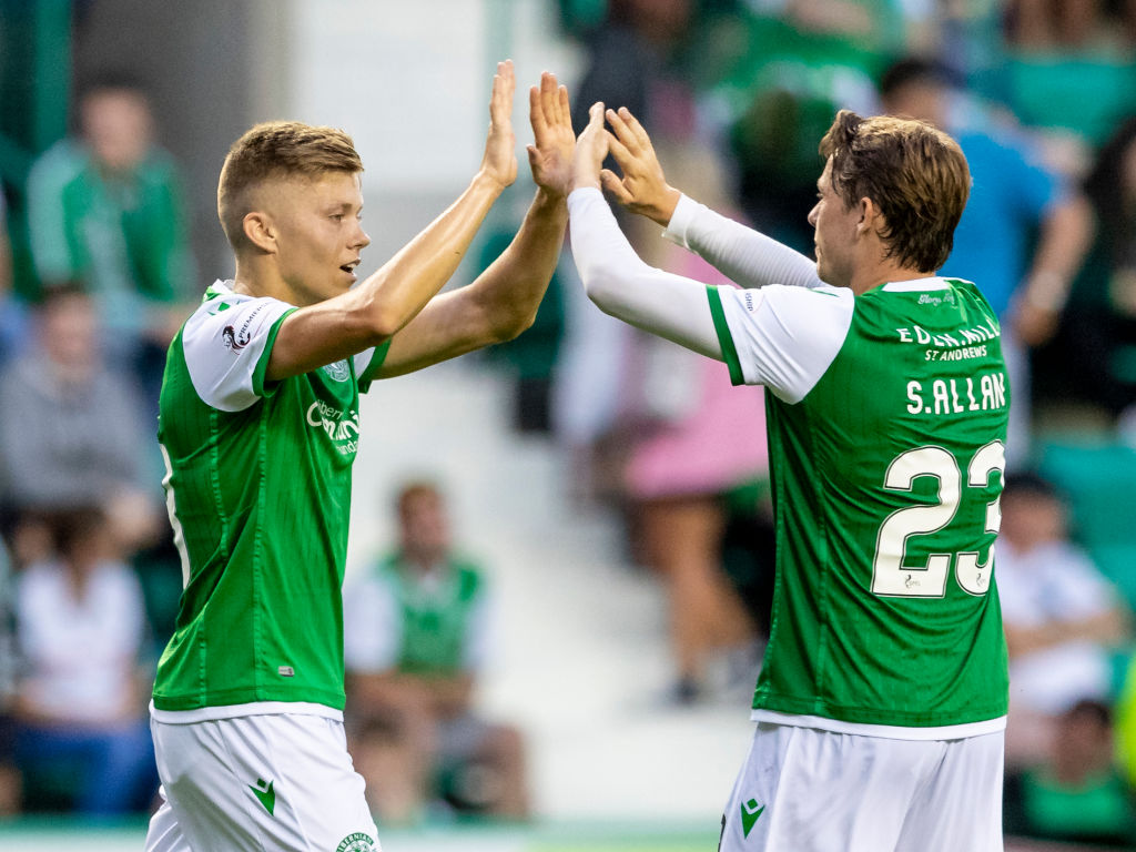 23rd July 2019, The Easter Stadium, Edinburgh, Scotland; Hibernian The Scottish League Cup; Hibernian versus Arbroath; Fraser Murray of Hibernian celebrate the third goal for Hibs with Scott Allan of Hibernian