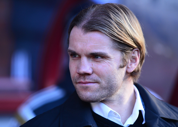EDINBURGH, SCOTLAND - JANUARY 3 : Heart of Midlothian Manager Robbie Neilson on the sideline during the Scottish Championship match between Heart of Midlothian F.C. and Hibernian F.C. at Tynecastle Stadium on January 3, 2015 in Edinburgh Scotland.