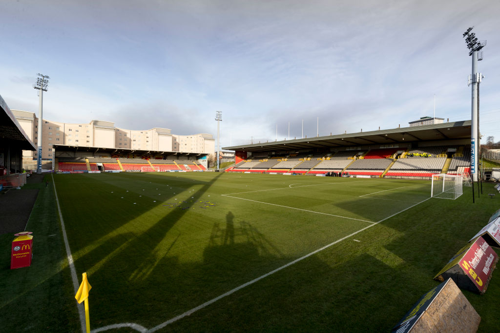 2nd December 2017, Firhill Stadium, Glasgow, Scotland; Scottish Premiership football, Partick Thistle versus Hibernian; General view of the stadium under the Winter sun before kickoff