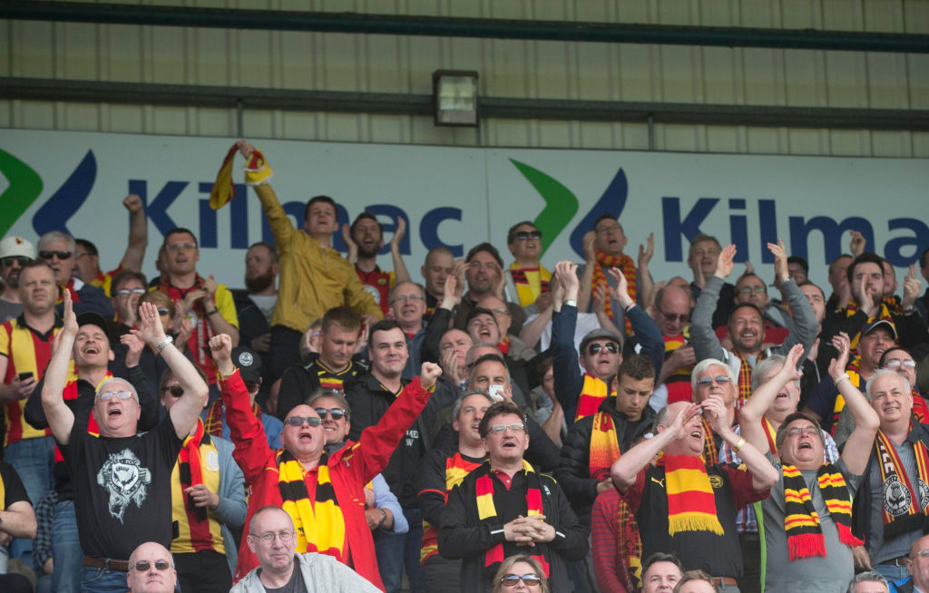 12th May 2018, Dens Park, Dundee, Scotland; Scottish Premier League football, Dundee versus Partick Thistle; Partick Thistle fans at the end as they win 1-0