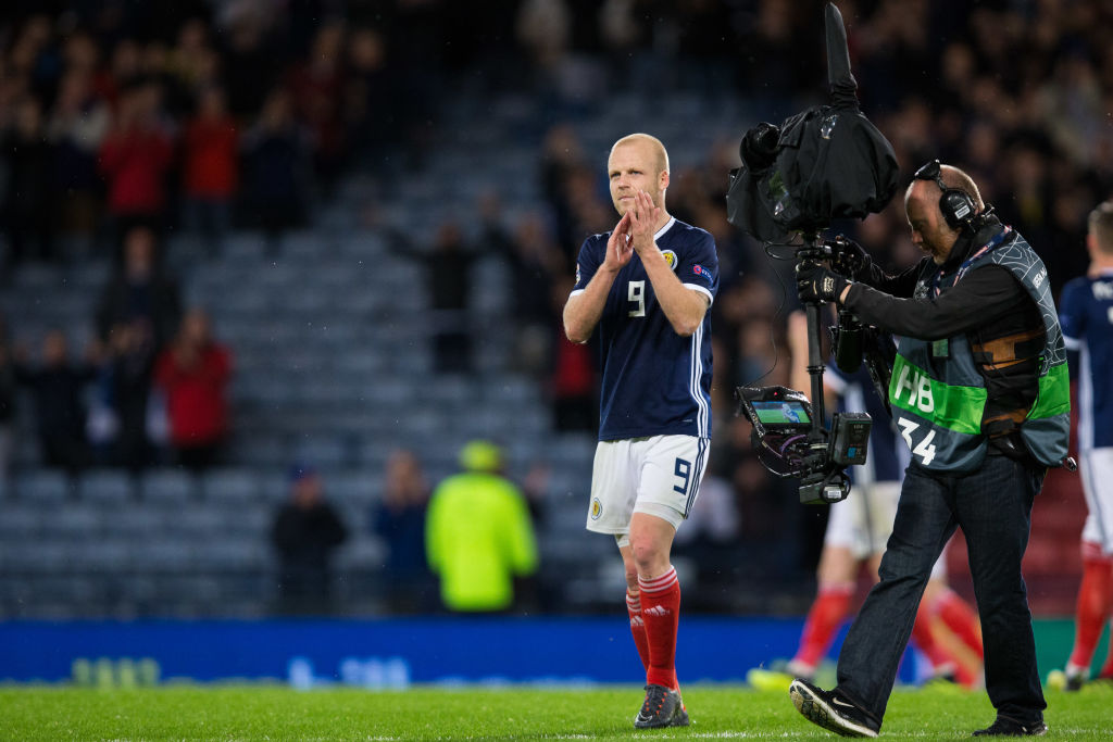 GLASGOW, SCOTLAND - SEPTEMBER 10: Steven Naismith of Scotland applauds the fans at the final whistle during the UEFA Nations League C group one match between Scotland and Albania at Hampden Park on September 10, 2018 in Glasgow, United Kingdom.