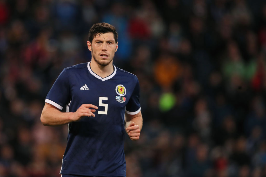 GLASGOW, SCOTLAND - OCTOBER 14: Scott McKenna of Scotland during the International Friendly match between Scotland and Portugal at Hampden Park, Glasgow, Scotland on October 14, 2018 in Glasgow, United Kingdom.