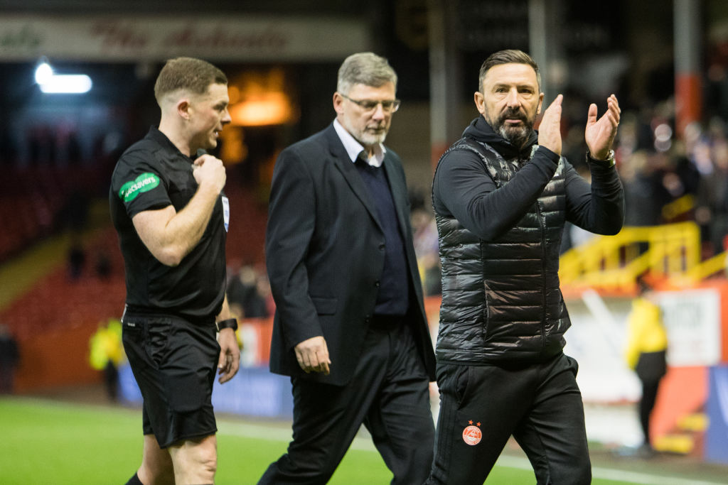 ABERDEEN, SCOTLAND - DECEMBER 22: Aberdeen manager Derek McInnes applauds fans at the final whistle during the Ladbrokes Scottish Premiership match between Aberdeen and Hearts at Pittodrie Stadium on December 22, 2018 in Aberdeen, Scotland.