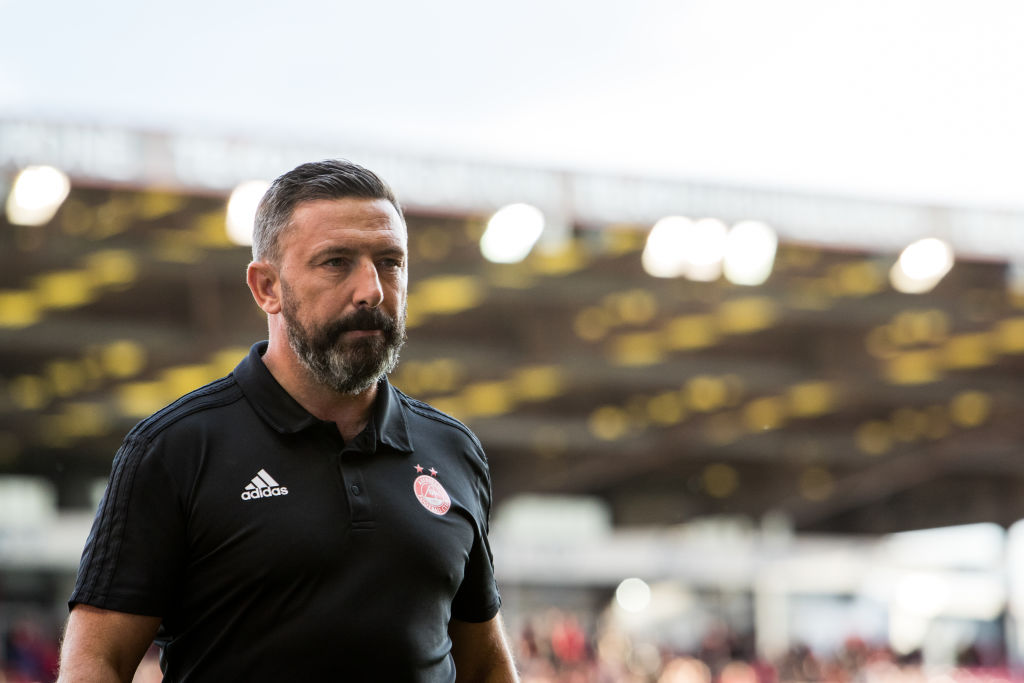 ABERDEEN, SCOTLAND - AUGUST 15: Aberdeen manager Derek McInnes prior to the UEFA Europa League Third Qualifying Round Second Leg match between Aberdeen FC and Rijeka at Pittodrie Stadium on August 15, 2019 in Aberdeen, Scotland.