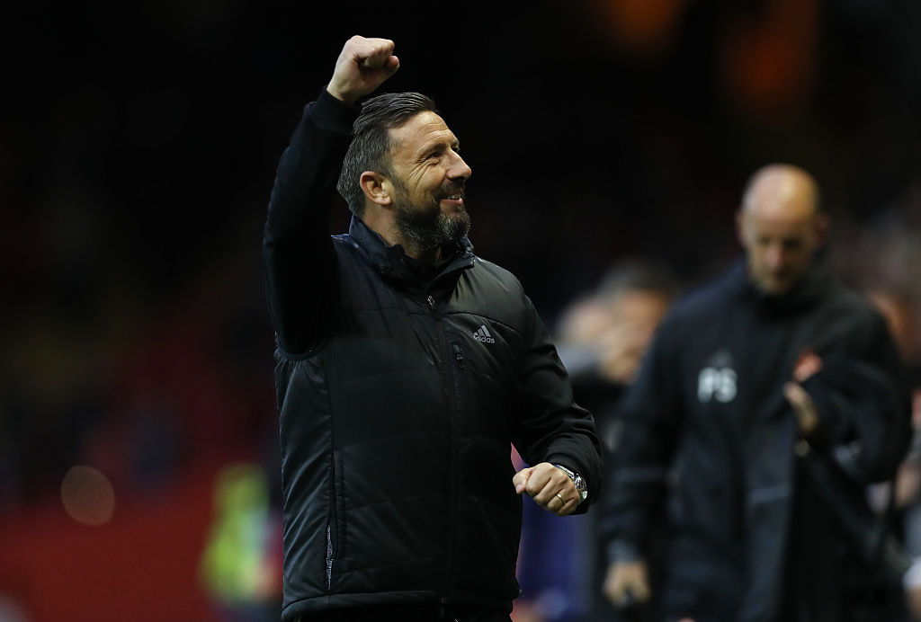 ABERDEEN, SCOTLAND - JULY 14: Aberdeen manager Derek McInnes celebrates during the UEFA Europa league second qualifying round, first leg match between Aberdeen and Ventspils at Pittodrie Stadium on July 14, 2016 in Aberdeen, Scotland.