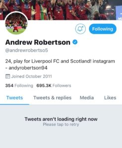 Liverpool star Robertson has deactivated his Twitter account for now. (Twitter)