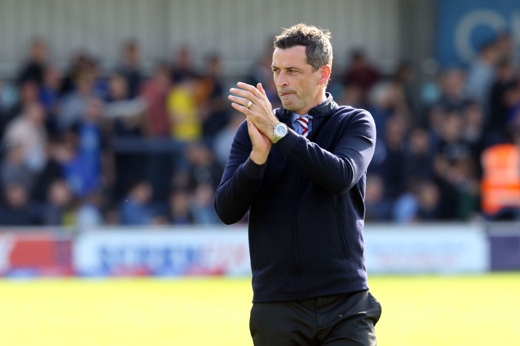 KINGSTON UPON THAMES, ENGLAND - AUGUST 25: Sunderland manager Jack Ross celebrates with the fans on the final whistle during the Sky Bet League One match between AFC Wimbledon and Sunderland at The Cherry Red Records Stadium on August 25, 2018 in Kingston upon Thames, United Kingdom. Hibs