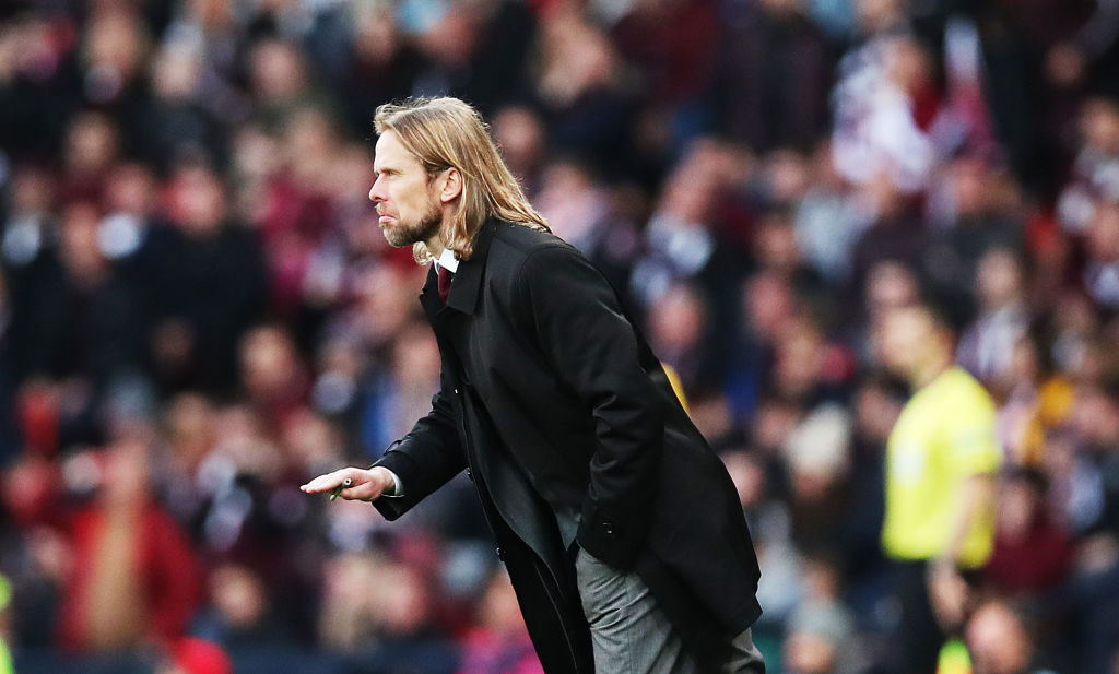 GLASGOW, SCOTLAND - NOVEMBER 03: Hearts of Midlothian interim head coach Austin MacPhee is seen during the Betfred League Cup semi final between Rangers and Herat of Midlothian at Hampden Park on November 03, 2019 in Glasgow, Scotland.