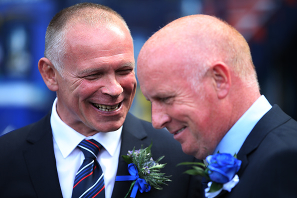 GLASGOW, SCOTLAND - MAY 30: Inverness Caledonian Thistle's manager John Hughes and Falkirk's manager Peter Houston during the William Hill Scottish Cup Final match between Falkirk and Inverness Caledonian Thistle at Hampden Park, on May 30, 2015 in Glasgow, Scotland.