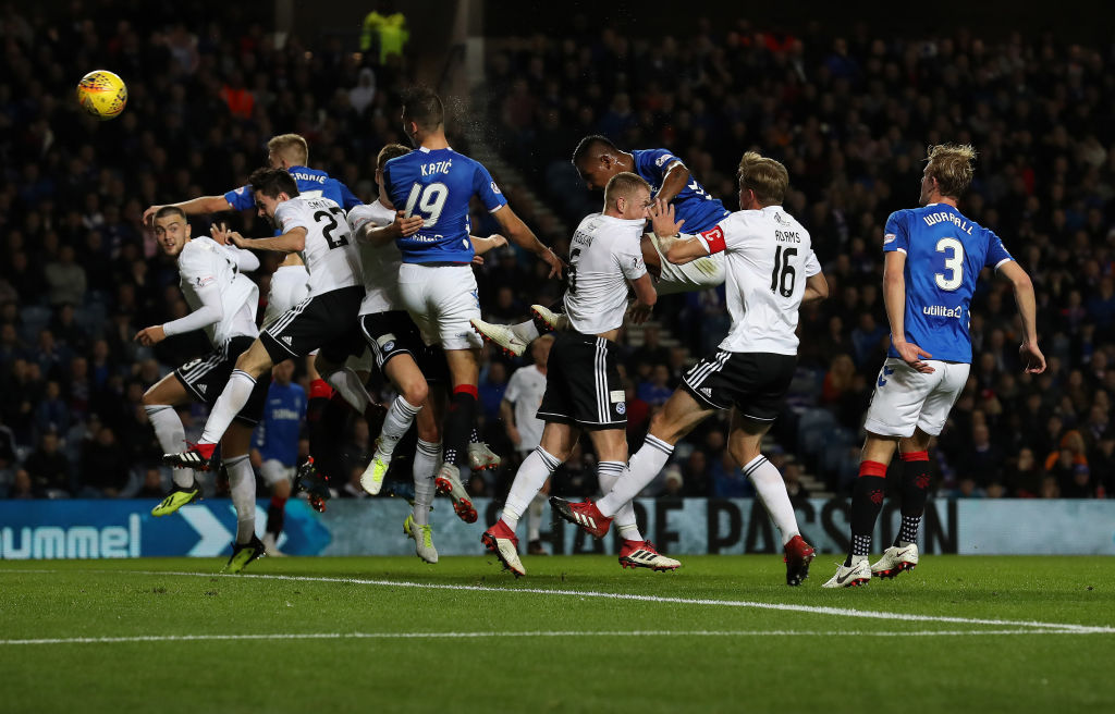 GLASGOW, SCOTLAND - SEPTEMBER 26: Nikola Katic of Rangers scores the opening goal during the Betfred Scottish League Cup Quarter Final match between Rangers and Ayr United on September 26, 2018 in Glasgow, Scotland.