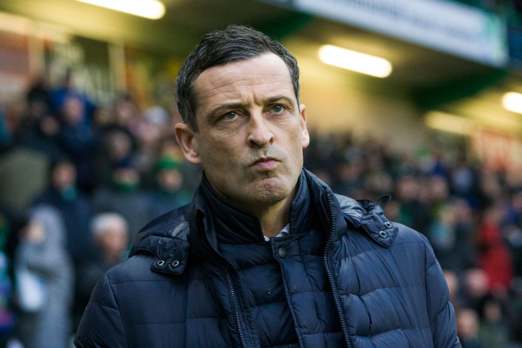 Hibernian manager Jack Ross during the Scottish Premier League match between Hibernian and Motherwell at Easter Road on 23 November, 2019 in Edinburgh, Scotland.