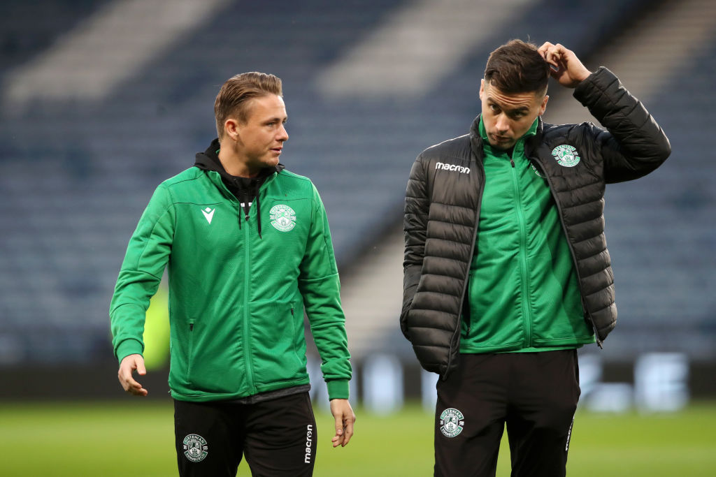 GLASGOW, SCOTLAND - NOVEMBER 02: Scott Allan and Darren McGregor of Hibernian FC inspect the pitch prior to the Betfred Cup Semi-Final match between Hibernan and Celtic at Hampden Park on November 02, 2019 in Glasgow, Scotland.