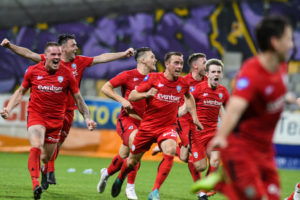Players of Coleraine FC celebrate during the UEFA Europa