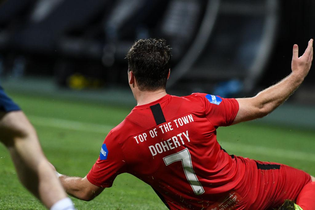 Ben Doherty of Coleraine FC celebrates during the UEFA...