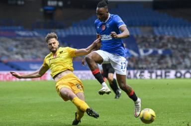 Livingston's Jon Guthrie in action against Rangers
