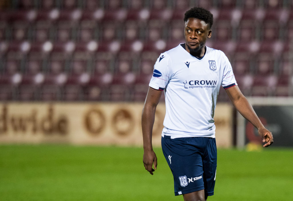 Jonathan Afolabi in action for Dundee