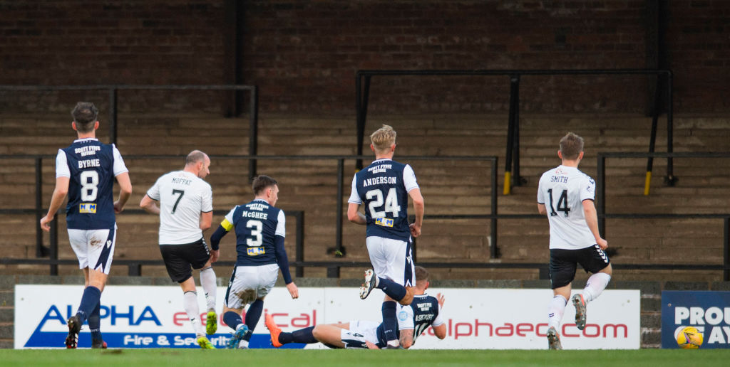 Michael Moffat scores his 100th Ayr United goal