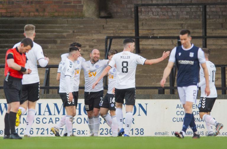 Michael Moffat celebrates scoring for Ayr vs Dundee