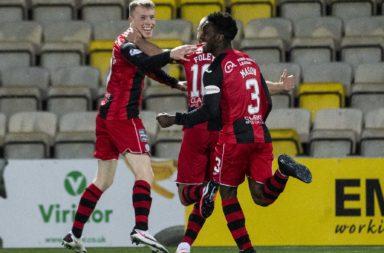 Jake Doyle-Hayes celebrates his goal against Livingston