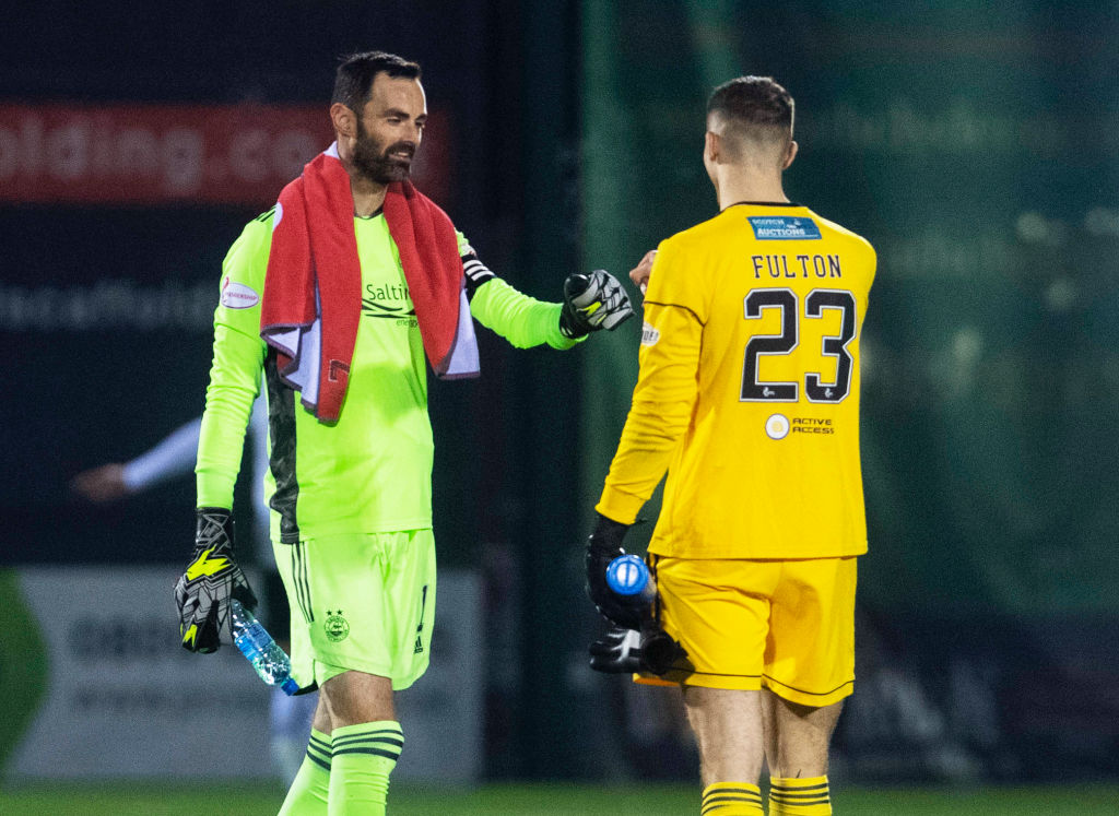 Aberdeen goalkeeper Joe Lewis and Hamilton's Ryan Fulton