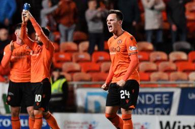 Dundee Utd's Lawrence Shankland celebrates scoring a goal