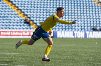Michael O'Halloran celebrates scoring for St Johnstone