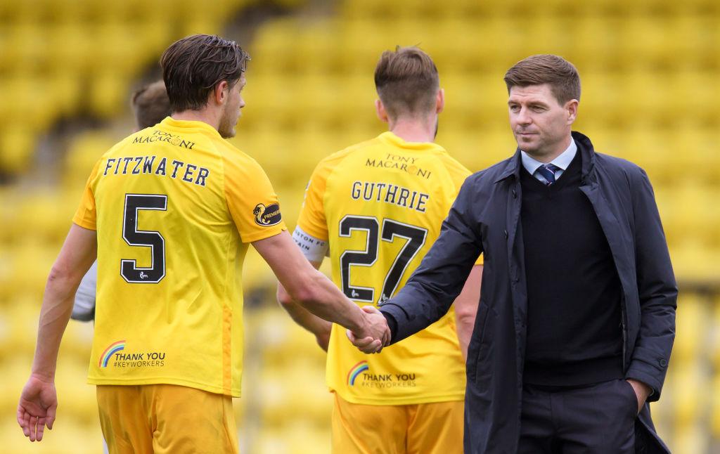 Steven Gerrard congratulates Jack Fitzwater