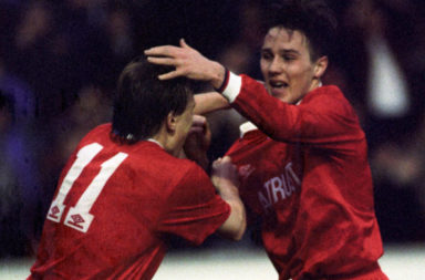 07/02/93 Tennent'S Scottish Cup .Aberdeen V Dundee Utd (2-0).Pittodrie - Aberdeen .Eion Jess (Right) Celebrates His Goal With Aberdeen Team-Mate Mixu Paatelainen
